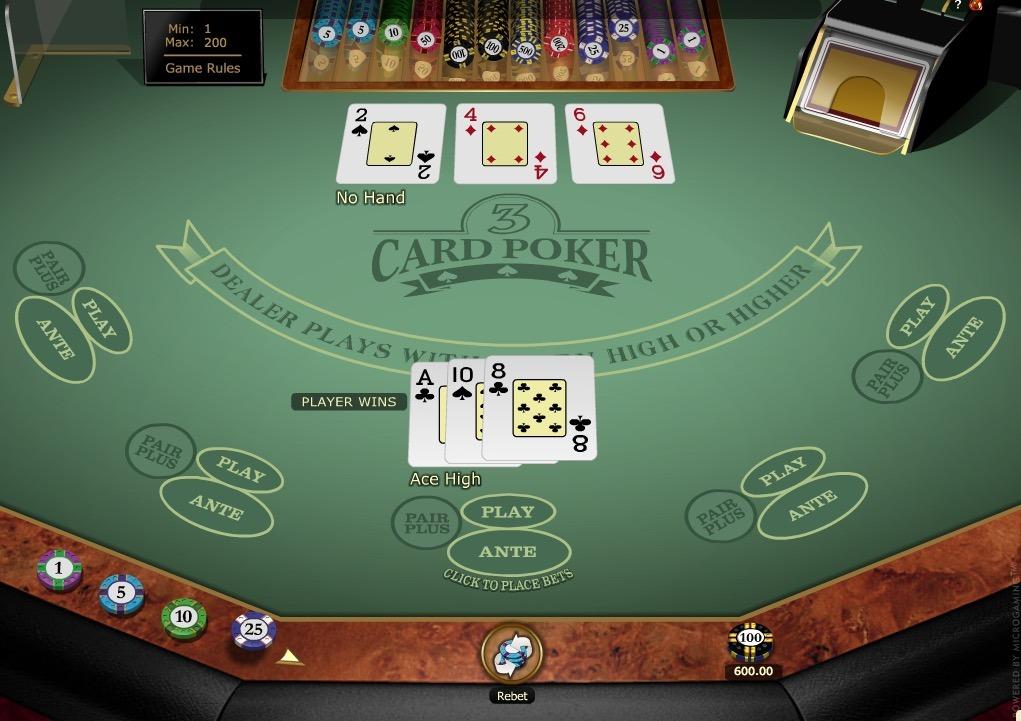 3 Card Poker Gold Series Online