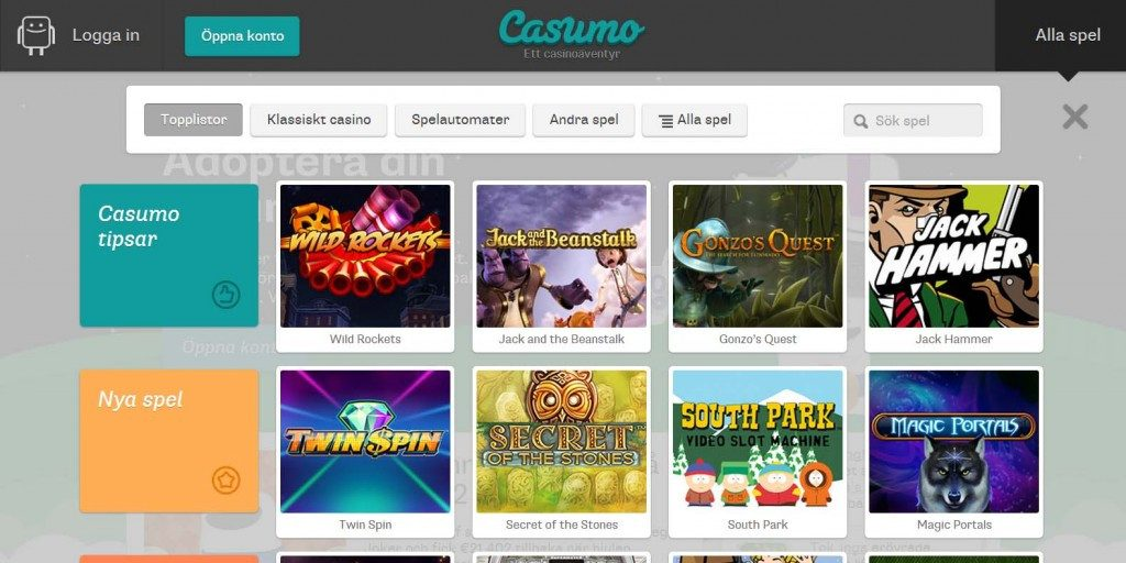 Casumo Casino Review Screenshot