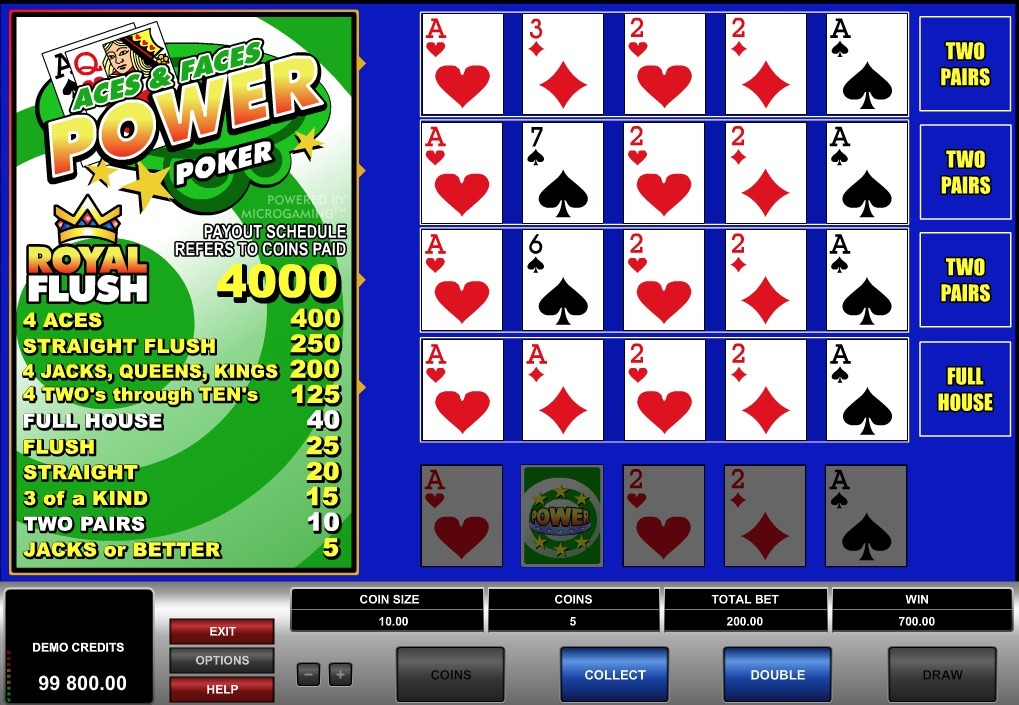 Aces And Faces Power Poker Online