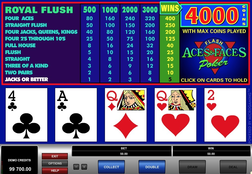 Aces and Faces Poker Online