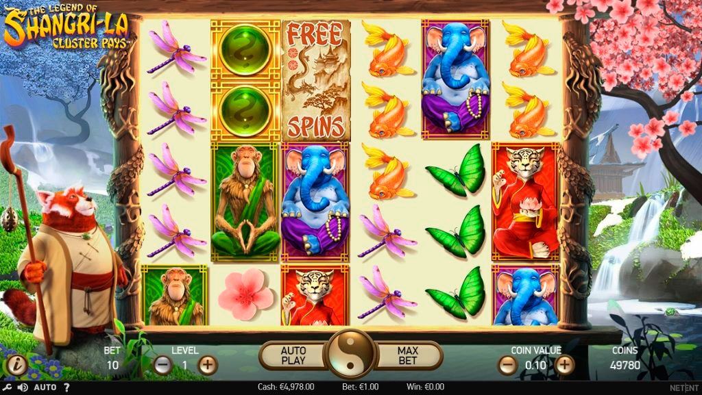 The Legend Of Shangri-La Cluster Pays Slot Machine Reviews