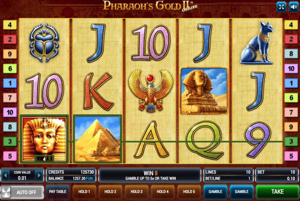 Pharaoh`s Gold II Deluxe Slot Machine Review