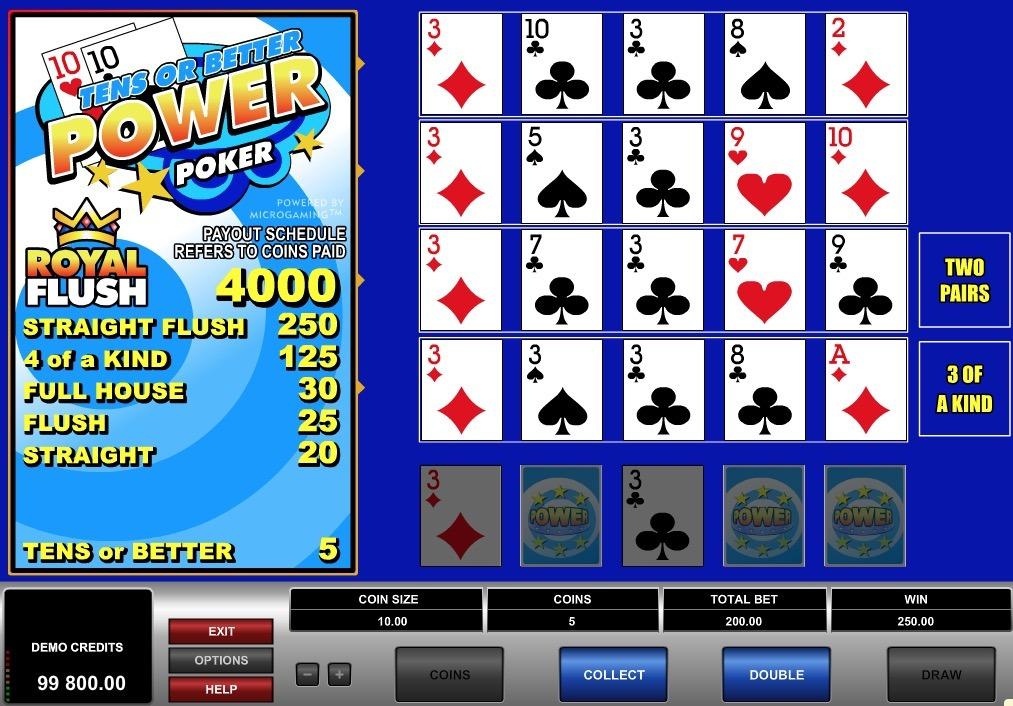 Tens or Better Power Poker Online